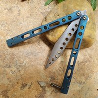 Theone Water Lake Blue Titanium Handle EX-10 Butterfly Practice Swing Knife 440C Blade Camping Hunting Survival Self-Defen Tool