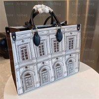 Luxuriöse Designer-Taschen Onthego MM Architettura Tote Black White Fornasetti Business Handtasche Cross Body Bag M59264 an den Go Wallets