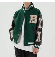 Lacble 2021 HIP HOP SURRY OS Patchwork Color Block Vestes Mens Harajuku Streetwear Veste Bombardier Hommes Baseball Manteaux Unisexe Taille M-2XL