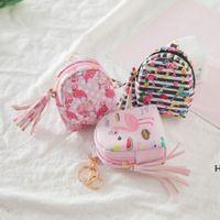 Flamingo حقيبة شكل المفاتيح عملة محفظة سستة محفظة صغيرة شخصية سلسلة المفاتيح محفظة قلادة الأزياء والمجوهرات 6 ألوان HWF6764