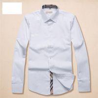 Luxurys Designer Hohe Qualität Herrenkleid Hemden Mode Trend Lässig Business Cocktail Hemd Langarm Solide Farbe Sommer Komfortable Stehkragen M-3XL # 38