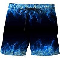 Hommes Blue Flamme 3D Shorts d'été imprimé Sur Surf Beach Travel Voyage rapide Dry Streetwear Board 2021 Hommes