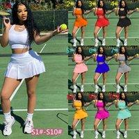 Mulheres verão tênis tracksuits sem mangas t-shirt de yoga shorts cor sólida 2 pedaço bocador conjuntos de roupas de roupa roupas XS-XXL