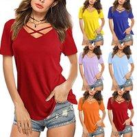 Женщины Топы сексуальные V-образные вырезы Крест-воротник Соли от короткой рукава футболка женские футболки женские женские одежды Летние топы CamiSetas de Mujer Y0606