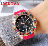 relogio masculino diamonds ring mens womens quartz Watches 41mm luxury Colorful Rubber Silicone Bracelet Clock Male gifts couples