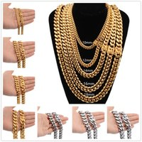 8mm 10mm 12mm 14mm 16mm Miami Cuban Link Chains Stainless Steel Mens 14K Gold Chains High Polished Punk Curb Hip Hop Necklaces
