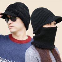 Beanies 2021 Hooded Wool Cap Riding Windproof Cold Hat Plus Velvet Thickening Fashion Outdoor Warm Collar Winter Caps
