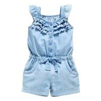Niños Niñas Ropa Rompers Denim Azul Algodón Lavado Jeans Sin mangas Bow Sumpsuits 0-5 años Nuevo
