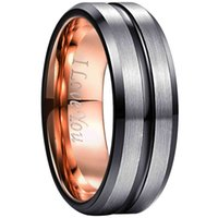 Inner Rose Gold Colorgroove I Love You Wedding for Men Women Black Bevel Frosted Superficie Tungsten Steel Promise Anillo