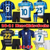 Kids Kit Inter milan Barella Fußballtrikots Lukku Vidal Lautaro Alexis Alexis 20 21 22 Viertes Fußballtrikot 2021 2022 Hakimi-Uniformen
