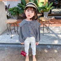 Shirts 2021 Spring Girl Plaid Large Lapel Shirt Small Children's Baby Korean Hit Color Buckle Loose Tide