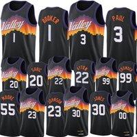 Phoenix Suns Erkekler Chris Paul Devin Booker Basketbol Formaları DeAndre Ayton Top 2021 Swingman Şehir Siyah Üniforma Kalabalık Saric Bridges Jalen Smith Johnson Carter Giyim