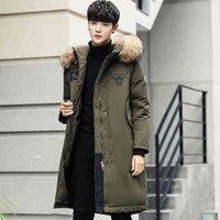 Bosideng down jacket men's long hooded real wool collar Korean fashion slim fit coat winter thick