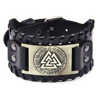 Vintage Bracelets Nordic Totem Bracelet Cowhide Bangle Rune Letter Pulsera Alloy Fashion Jewelry