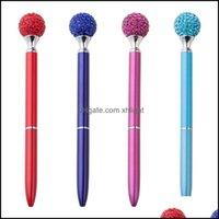 Writing Business & Industrial50Pcs Lot Diamond Crystal Gem Ballpoint Pens Wedding Metal Ball Pen Stationery Fashion School Office Supplies D