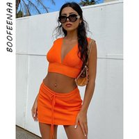 Neon Orange Ribbed Sexy Two Piece Set Women Deep V Crop Top Skirt Matching Sets Summer Club Outfits For C69-AB01 Dress
