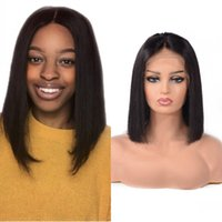 Short Bob Straight 13X4 Lace Front Wigs Malaysian Human Hair Pre Plucked Bleached Knots For Women 130% Remy Wig