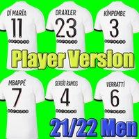 플레이어 버전 # 4 srergio ramos # 7 MBappe 축구 유니폼 2021 2022 # 10 Neymar JR 축구 셔츠 멀리 흰색 # 9 Icardi # 6 Verratti 남자 축구 유니폼 사용자 정의