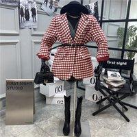 Women's Wool & Blends 2021 Fashion Casual Adult Clothing Medium Length Woolen Coat Retro Plaid Suit