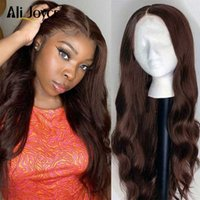 Lace Wigs Body Wave Human Hair 13×1 T Part Wig Brown Color Remy For Black Woman Brazilian Pre Plucked