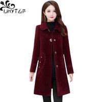 Women's Wool & Blends UHYTGF Quality Mink Fleece Woolen Jacket Women Mid-Length Slim Winter Coat Female Embroidery Pocket Casual Plus Size O
