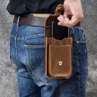 Luufan Real Cuero Hombres Casual Pequeño Bolsa de cintura Pequeño Cuero de vaca Bolsa de gancho de cintura Paquete de cinturón Caja de cigarrillo 5.5 Bolsa de teléfono M197 #