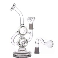 14mm joint 8 Inches Mini Dab Rigs Glass Oil Rigs Recycler bong cheapest Double Barrel Percolator smoking Water pipe With oil burner pipe