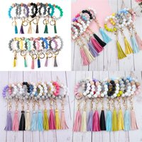 Beaded Keychain Party Favor Wooden Tassel String Chain Food Grade Silicone Bead Key Ring Women Girl Wrist Strap Bracelet by sea T9I001542