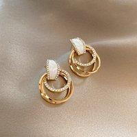 Geometric circle alloy earrings simple set diamond earrings pendant holiday party gifts