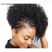 Натуральный черный хвост для женщин 1 шт. AFRO kinky Кудрявые хвостики клип в 100% человеческие волосы Долаго Pair Products Remy