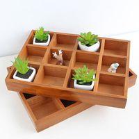 12-cuadrícula vintage almacenamiento de madera caja divisora de cajón escritorio organizador bandeja de bandeja para manualidades plantas joyas botellas tarros