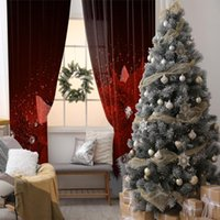 Curtain Flowers Pearls Fir Tree Branches Holiday Celebration Vintage Style Decorating Theme Artwork Red White & Drapes