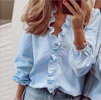 Blouse Shirts Office Lady 2021 Spring Summer Print Long Sleeve Ruffle Women Blouses Sexy V-neck pullover Tops