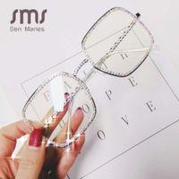 Sen Maries Square Light Light Diamante Sunglasses Mulheres Quadrado Luxo Cristal Clear Óculos Vintage Grande Moldura Feminina óculos
