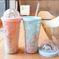 550ml 고양이 귀 스타일 깜박이 더블 레이어 컵 귀여운 만화 크리 에이 티브 플라스틱 컵 스팽글 주스 선물 컵 DHL에 의해 FY4479