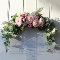 Decorative Flowers & Wreaths Floral Swag Artificial Peony Wreath Handmade Garland For Mirror Home Wedding Party Door Lintel Decoration
