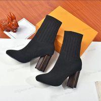 Sonbahar Kış Çorap Topuklu Topuk Çizmeler Moda Seksi Örme Elastik Çizme Tasarımcısı Alfabetik Kadın Ayakkabı Lady Mektubu Kalın Yüksek Topuklu Büyük Boy 35-42 US5-US11 Kutusu Ile