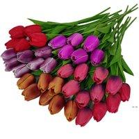 اللاتكس tulips الاصطناعي بو زهرة باقة ريال اللمس الزهور للمنزل الديكور مهرجان الحدث الزفاف الزخرفية HWF5893