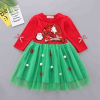 2021 Christmas Kids Dress Sequin Xams Tree Gauze Skirt Fashion Children's Patchwork Girls Dresses Long Sleeve Party Snowman Santa Clothes G00AWER