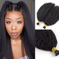 Kinky Straight I tip Hair Extensions 100% Virgin Human Hair Natural Black Pre Blonded Stick Keratin Hair 100g 1g strand