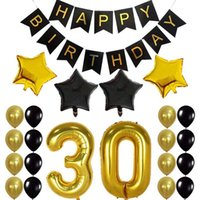 Party Decoration 30Th Birthday Decor Gifts For Men & Women Happy Black Banner Balloons Perfect 30 Years Old Supplies
