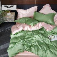 Lofuka النساء الأخضر الوردي 100٪ الحرير مجموعة الفراش صحي الجمال حاف الغطاء الملكة الملك ورقة مسطحة مجهزة وسادة سرير مجموعات