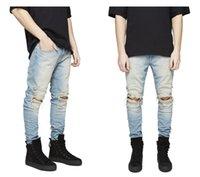 Slim Fit Yırtık Adam Kot Erkekler Hi-Street Erkek Sıkıntılı Denim Joggers Pantolon Streetwear Hip Hop Jean Diz Delik Yıkanmış Yıkılan Artı Boyutu Pantolon