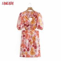 Tangada Summer Women Flowers Print Backless Dress Puff Short Sleeve Ladies Sundress XN343 210609