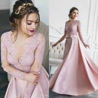 Elegant Blush Pink Evening Dresses With Overskirts Long Sleeves Lace Formal Mermaid prom dresses 2019 Abendkleid Special Occasion Party Gown