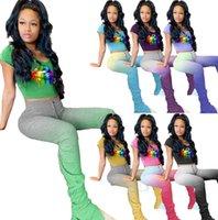 piece Plus size 2X Summer two women trendy set designer gradient outfits short sleeve lip T-shirt crop top+flared pants stack leggings 3205 RPJX