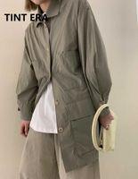 Lightweight Workwear Windbreaker Spring Boyfriend Thin Jacket Handsome Pure Color Trench Coat Women Women's Coats