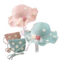 Summer children 2 pieces set handbag Flower Visor Cap Straw Panama Gorros Kid Baby Girl Sun hat