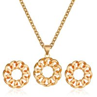 Simple Chain Earrings Necklace Hollow Fashion Metal Earring Rose Gold Pendant Choker Jewelry Accessories Set Lady