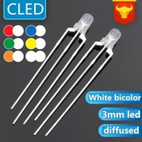전구 1000pcs 3mm 라운드 LED 3 핀 화이트 바이 컬러 딥 린이트 블루 화이트 G / 화이트 확산 LED (Cerosh)